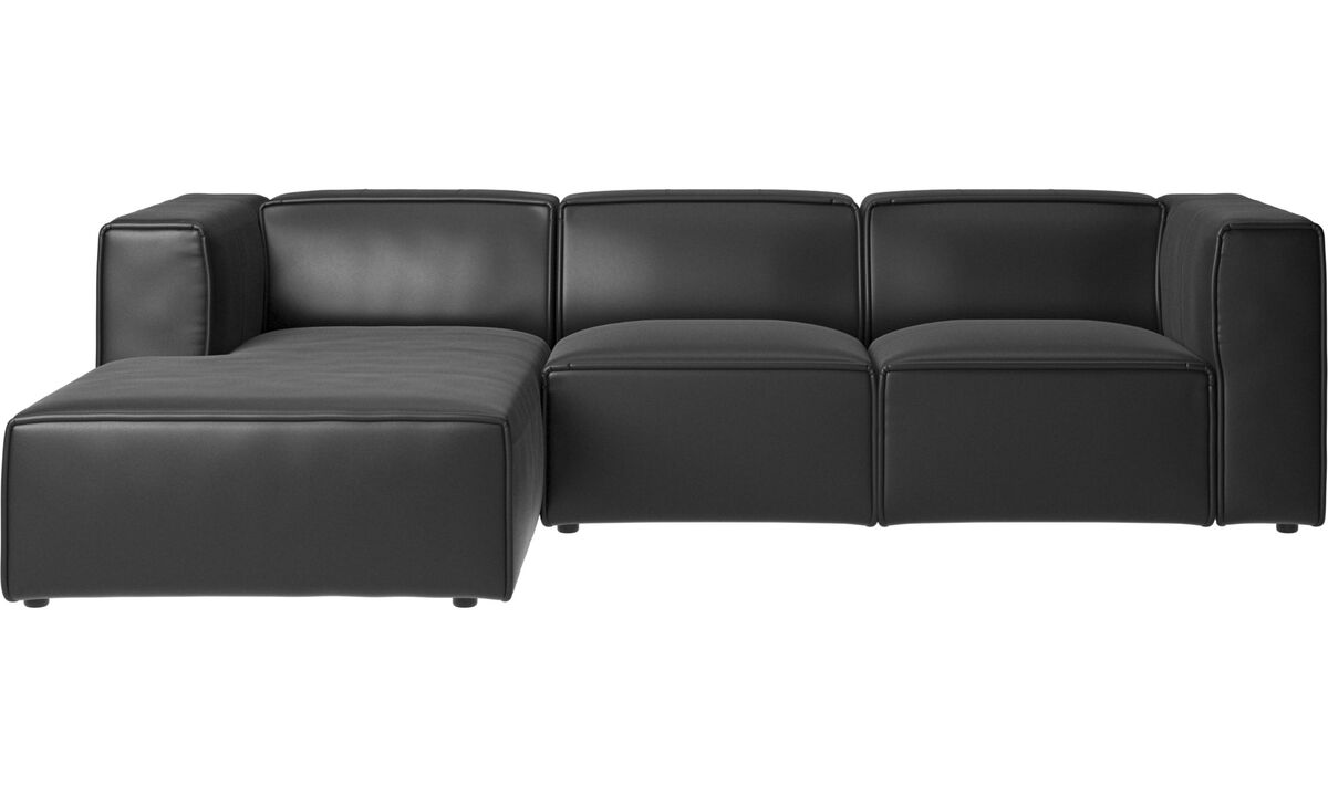 Chaise lounge sofas - Carmo motion sofa with resting unit - Black - Leather