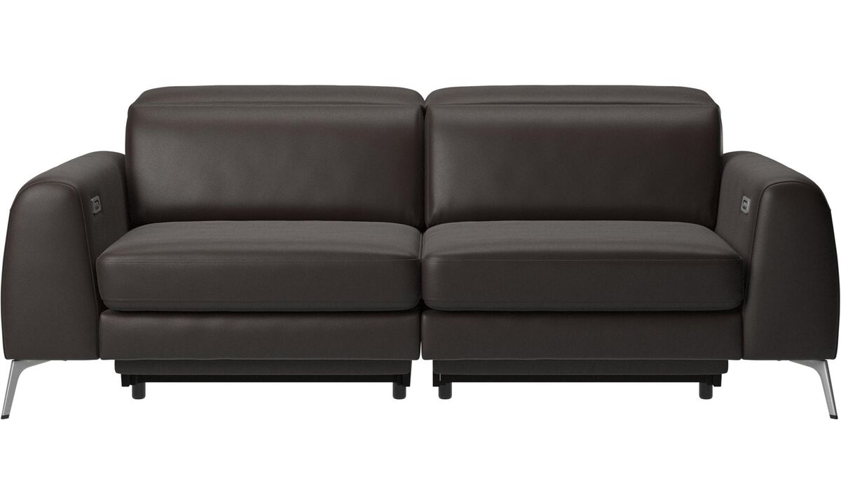 3 seater sofas - Madison sofa with electric seat, head and footrest motion (transformer and cable plug-in included) - Brown - Leather
