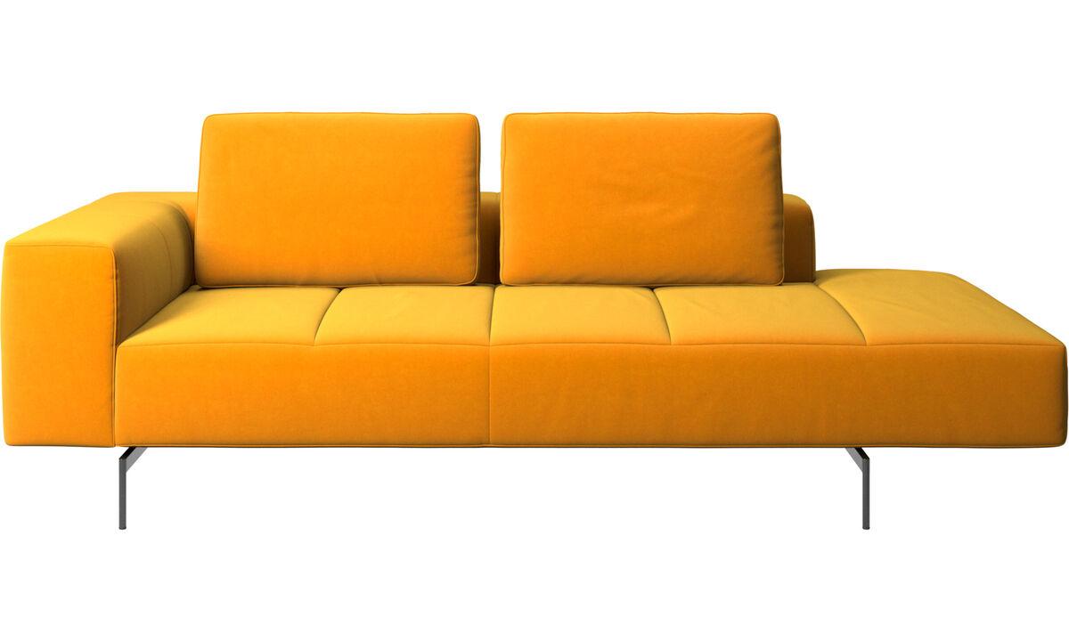 Sofás modulares - Módulo de descanso para sofá Amsterdam, reposabrazos izquierdo, lado derecho abierto - Naranja - Tela