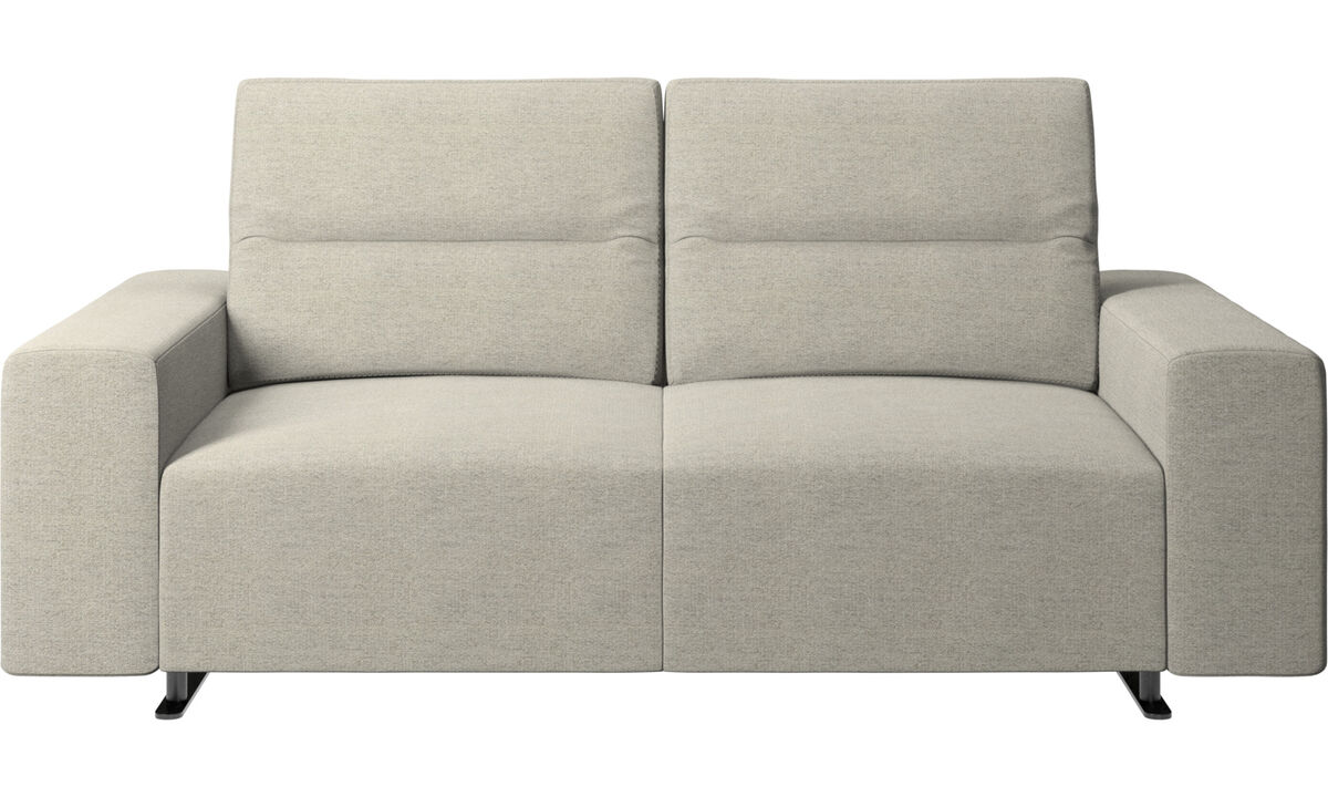 Двухместные диваны -  диван Hampton с регулируемой спинкой и системой хранения с правой стороны - Бежевого цвета - Tкань