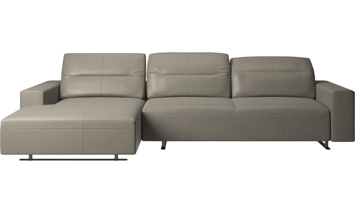 Sofás con chaise longue - Sofá Hampton con respaldo ajustable y módulo de descanso en lado izquierdo - En gris - Piel