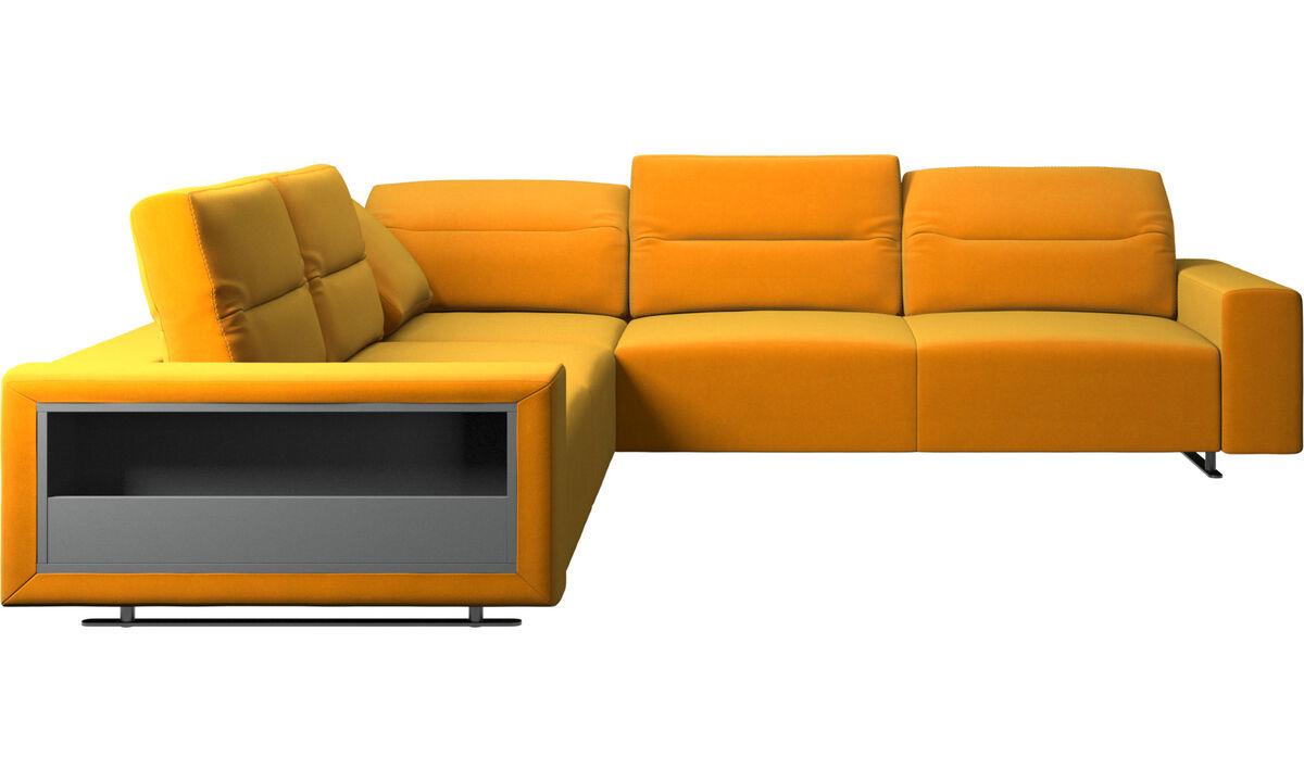 Corner & L-Shaped Sofa - Hampton corner sofa with adjustable back and storage - Orange - Fabric