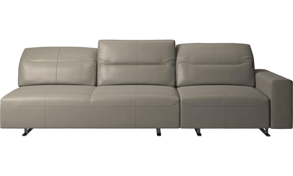Sofás de 3 plazas - Sofá esquinero Hampton con respaldo ajustable y almacenamiento en lado derecho - En gris - Piel