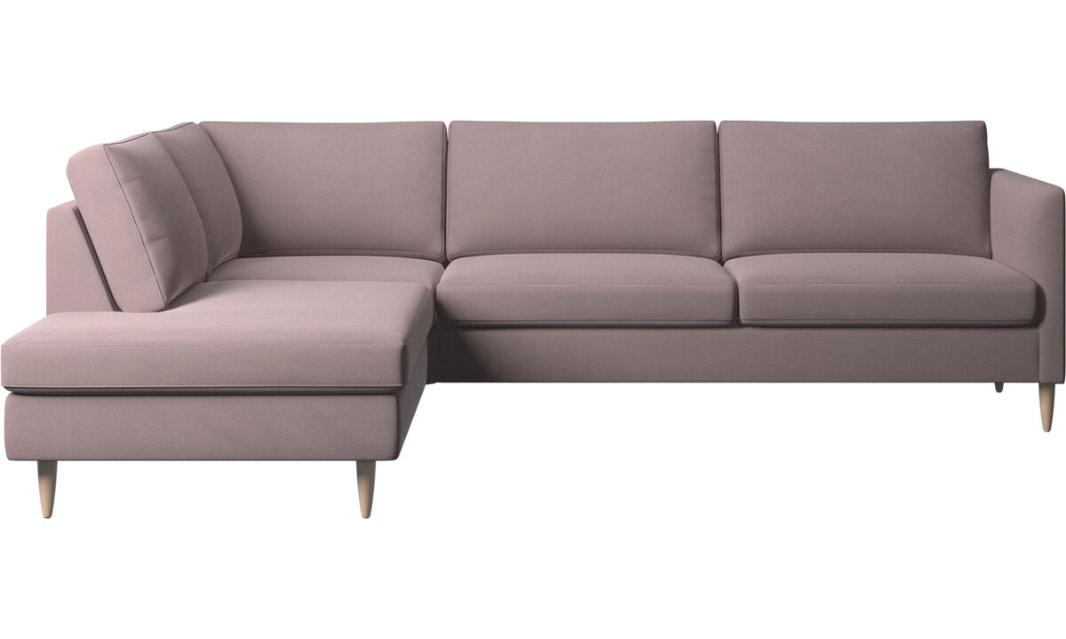 Sofas with open end - Indivi corner sofa with lounging unit - Purple - Fabric