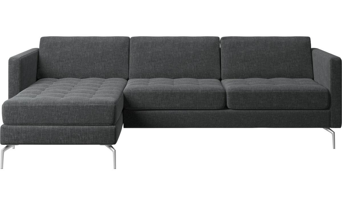 Sofás con chaise longue - sofá Osaka con módulo chaise-longue, asiento liso - En gris - Tela