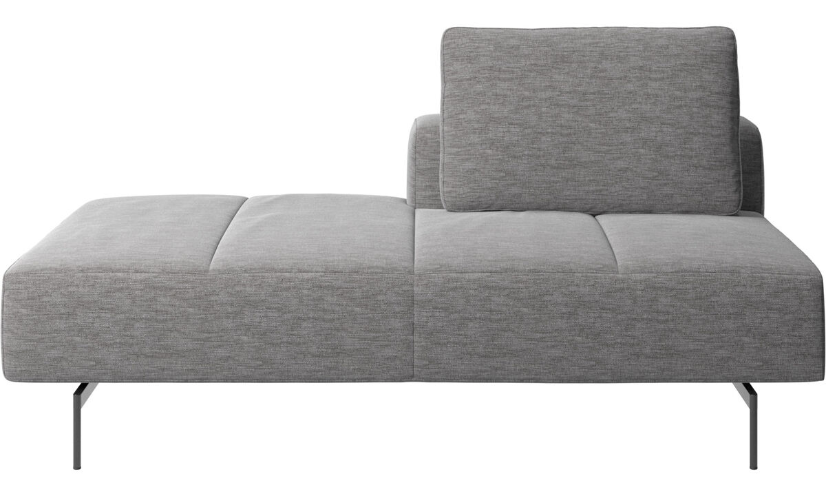 Modular sofas - Amsterdam Iounging module for sofa, back rest right, open end left - Grey - Fabric
