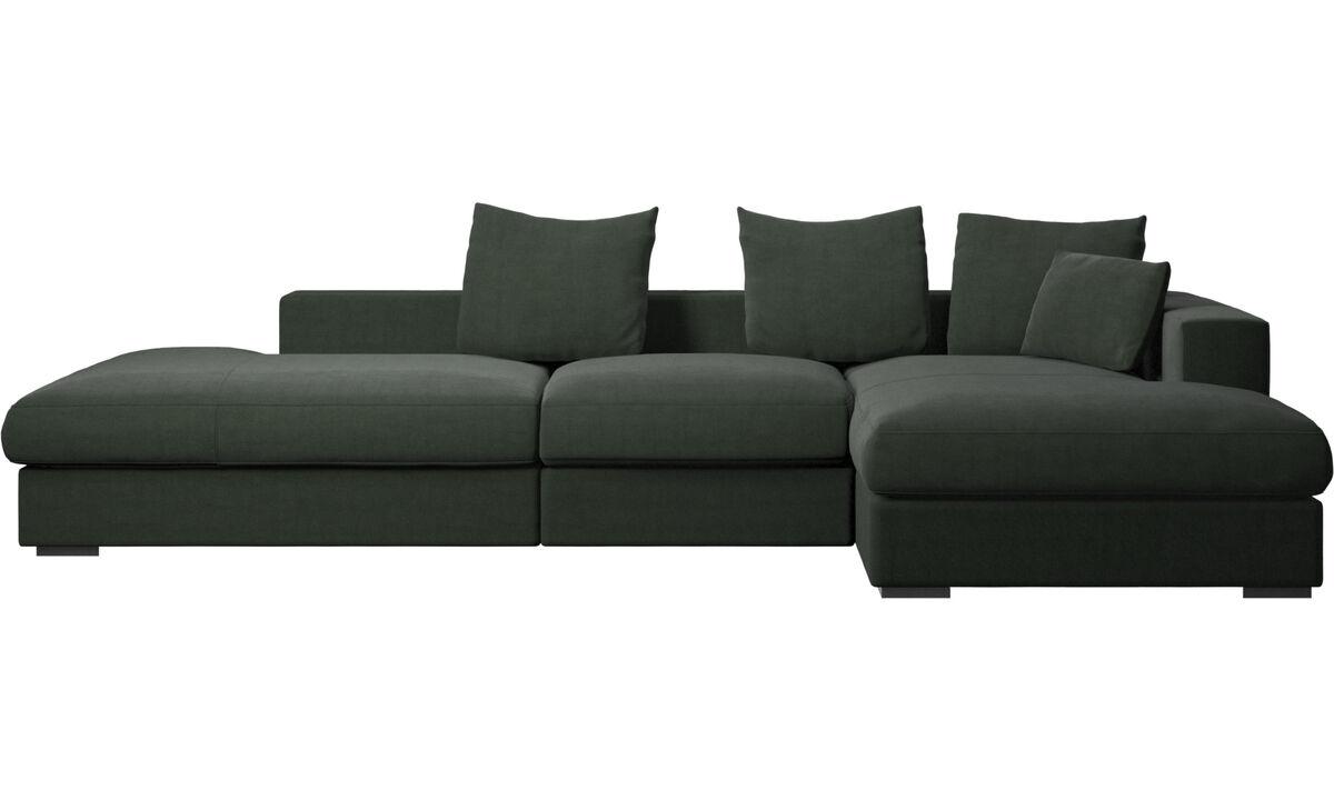 Sofás de 3 plazas - sofá Cenova con módulos de descanso y chaise-longue - En verde - Tela