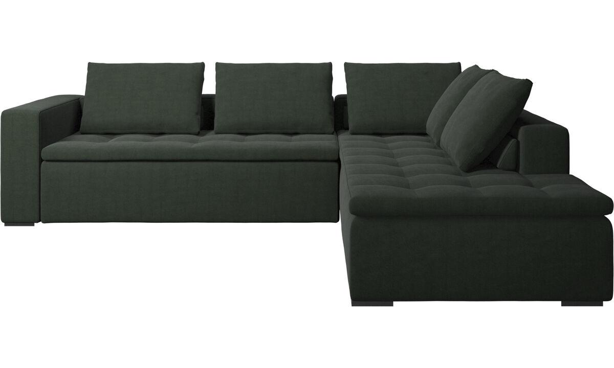 Sofás con lado abierto - sofá esquinero Mezzo con módulo de descanso - En verde - Tela