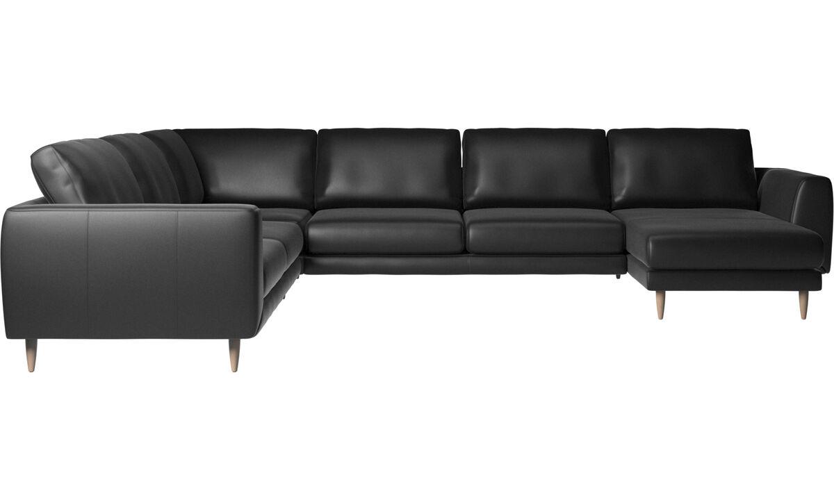 Chaise longue sofas - Fargo corner sofa with resting unit - Black - Leather