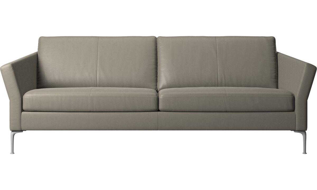 Sofás de 3 plazas - sofá Marseille - En gris - Piel