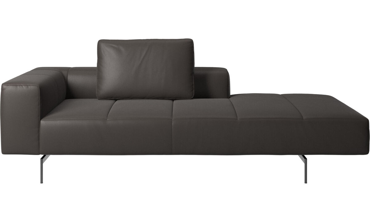 Chaise lounge sofas - Amsterdam Iounging module for sofa, armrest left, open end right - Brown - Leather