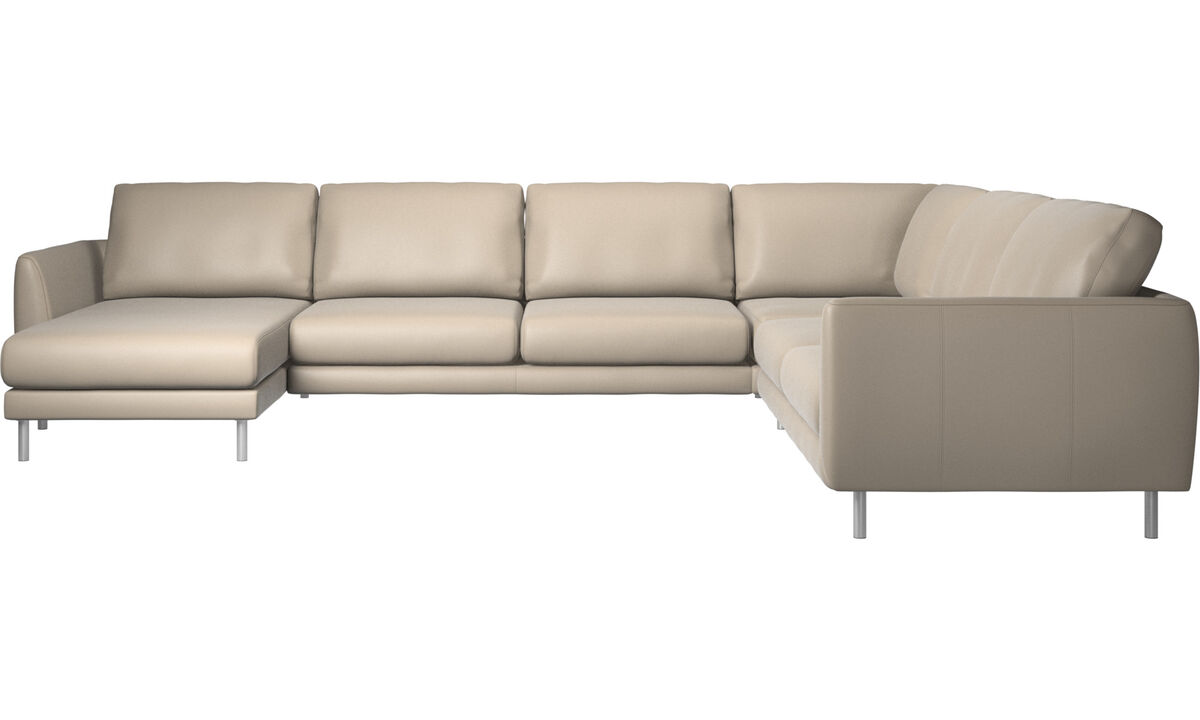 New designs - Fargo corner sofa with resting unit - Beige - Leather