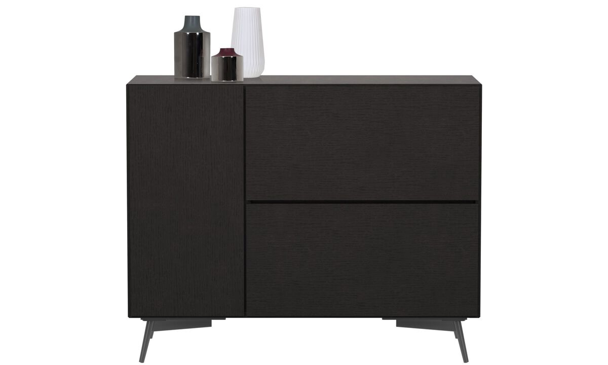 Sideboards - Lugano highboard with drop-down door and drawer - Black - Oak