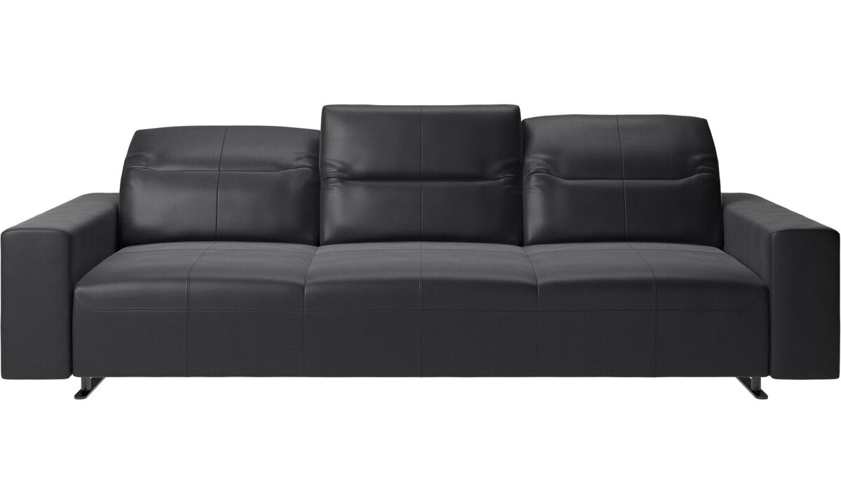 3 seater sofas - Hampton sofa with adjustable back and storage on the right side - Black - Leather