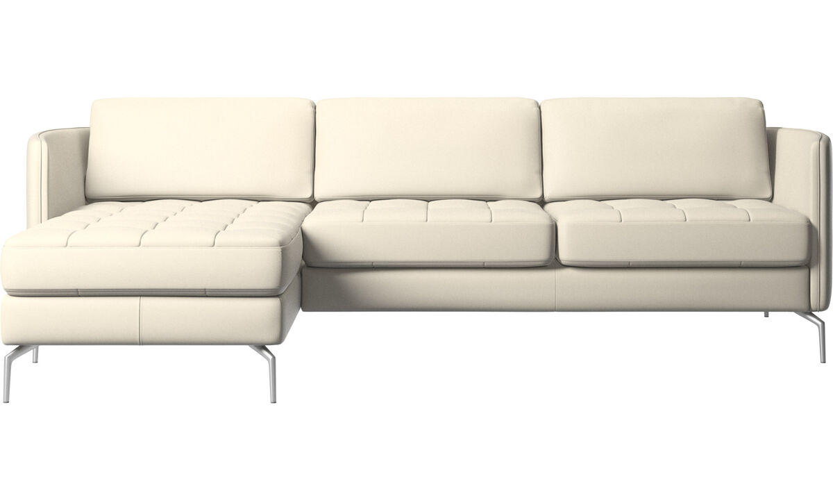 Chaise lounge sofas - Osaka sofa with resting unit, tufted seat - White - Leather