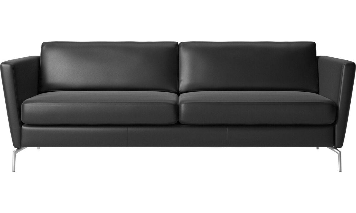Sofás de 2 plazas y media - Sofá Osaka, asiento regular - En negro - Piel