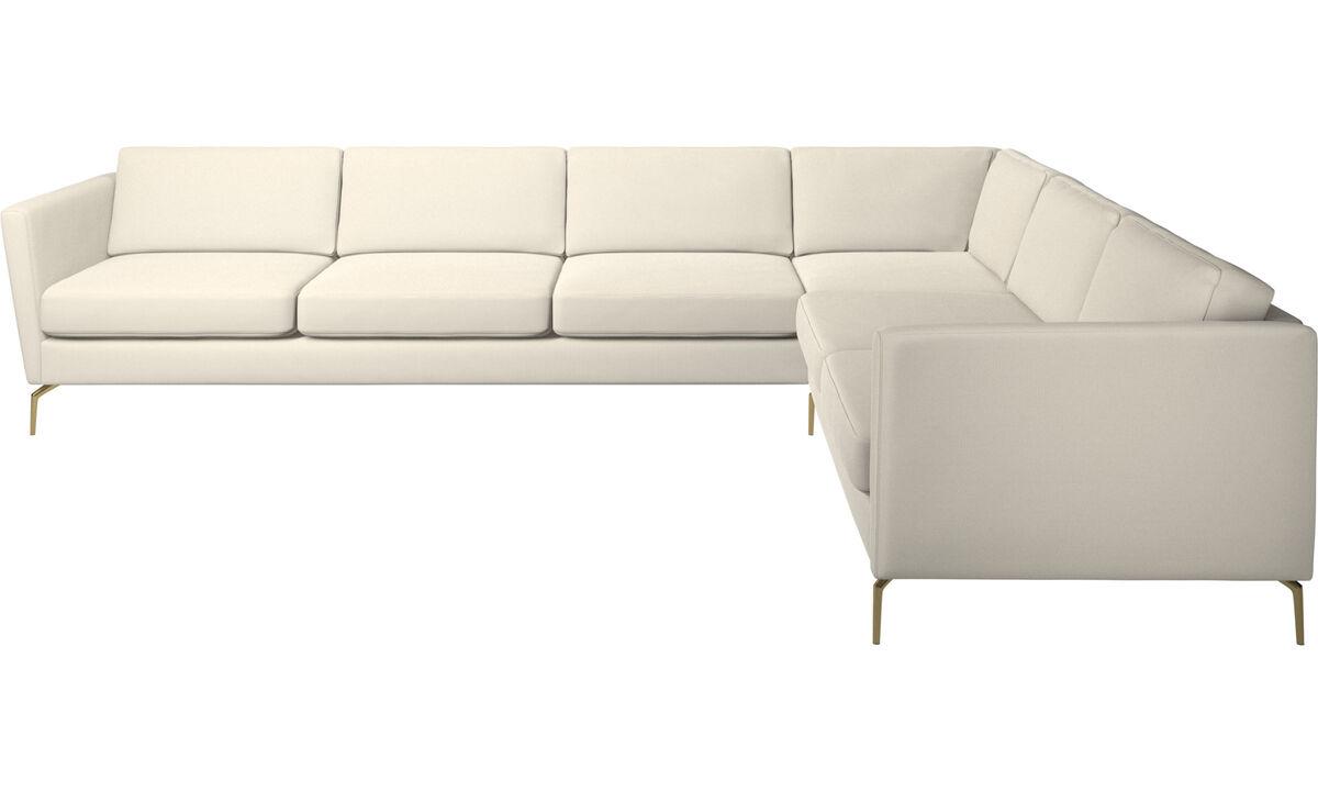 Sofás esquineros - sofá esquinero Osaka, asiento regular - Blanco - Tela