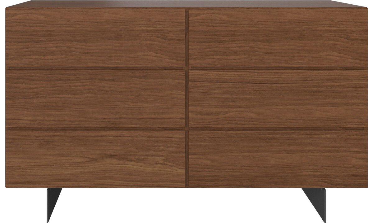Chests of drawers - Lugano double dresser - Brown - Walnut