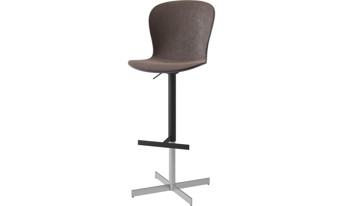 Bar stools - Adelaide barstool with gas cartridge - Brown - Leather