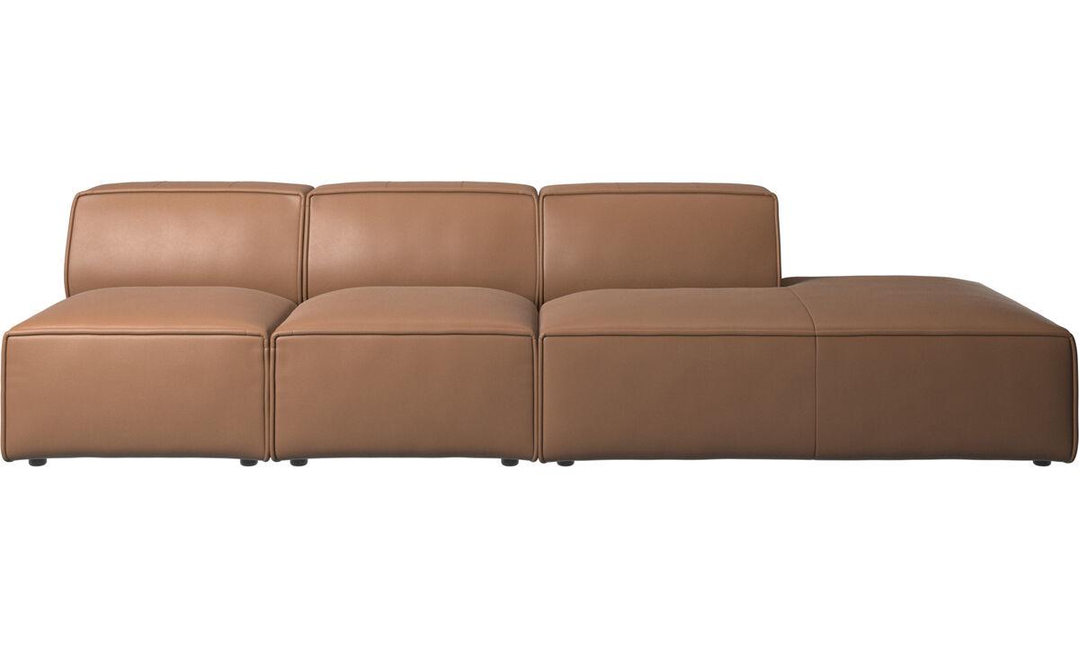 Sedačky s otvoreným koncom - sedačka Carmo s oddychovým modulom - Hnedá - Koža