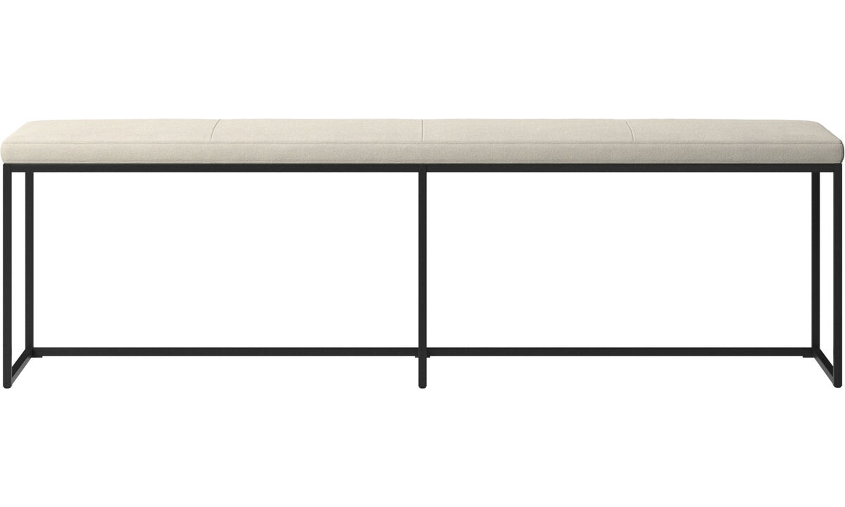 Benches - London large bench with cushion - White - Fabric