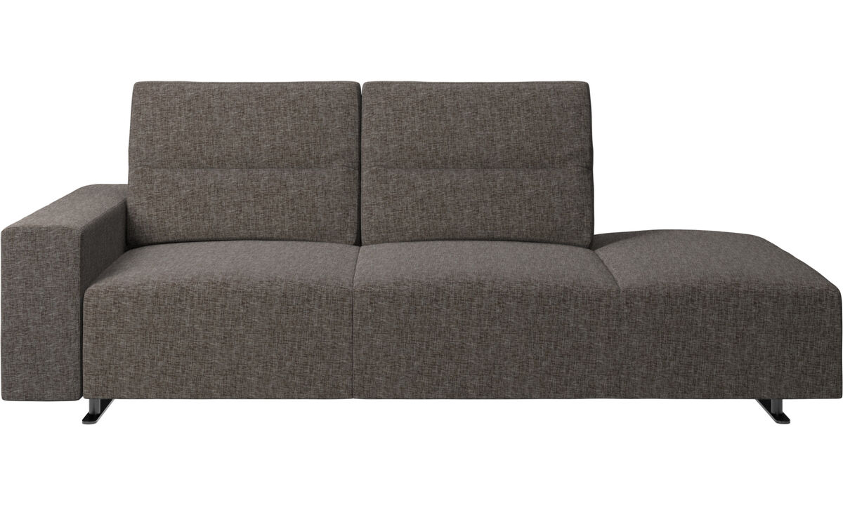 Sofas with open end - Hampton sofa with adjustable back and lounging unit right side, storage and armrest left side - Brown - Fabric