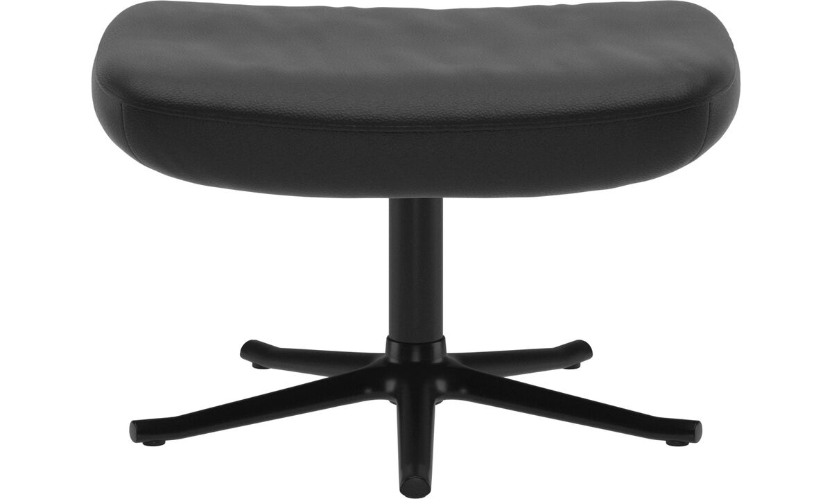 Footstools - Lucca footstool - Black - Leather
