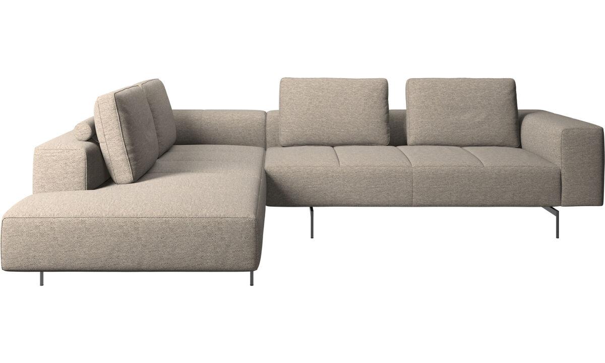 Corner sofas - Amsterdam corner sofa with lounging unit - Beige - Fabric