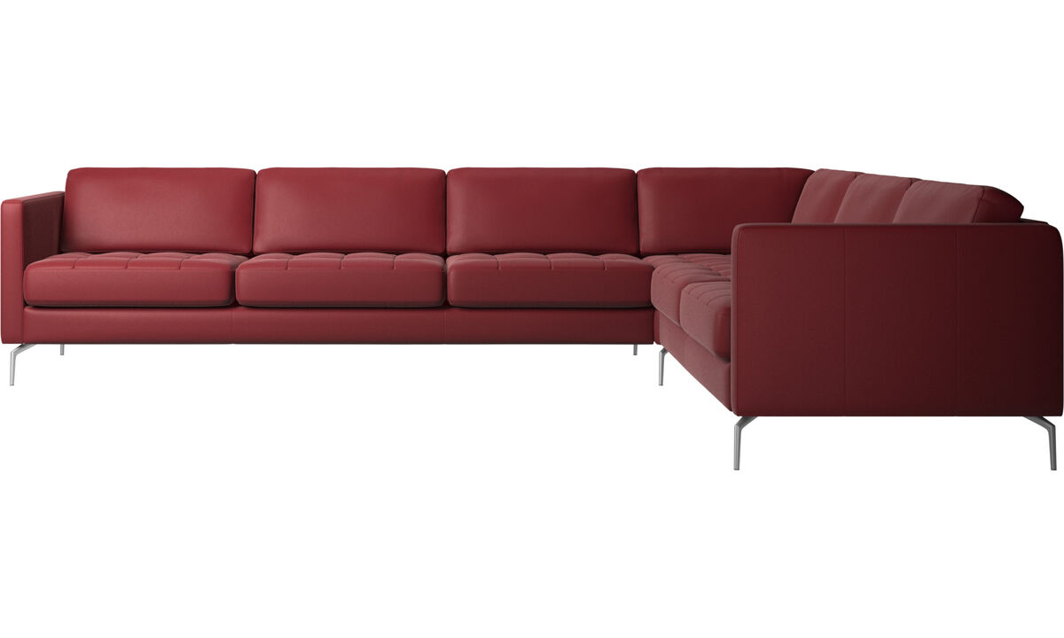 Corner sofas - Osaka corner sofa, tufted seat - Red - Leather