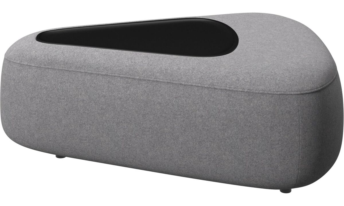 Modular sofas - Ottawa triangular pouf with tray matte black structure - Gray - Fabric