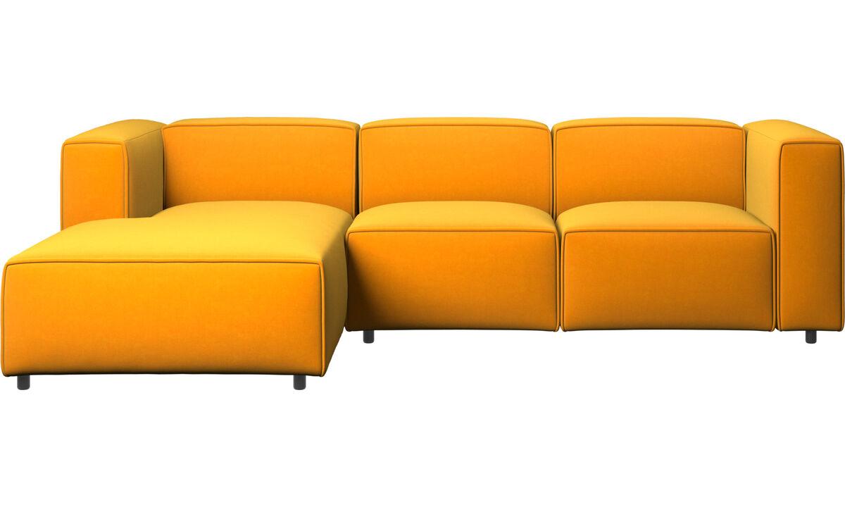 Sofás con chaise longue - Sofá Carmo con movimiento y módulo de descanso - Naranja - Tela