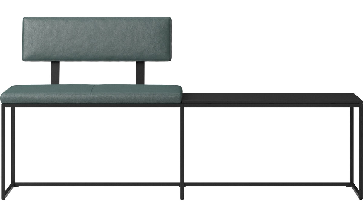 Benches - London large bench with cushion, shelf and backrest - Green - Fabric