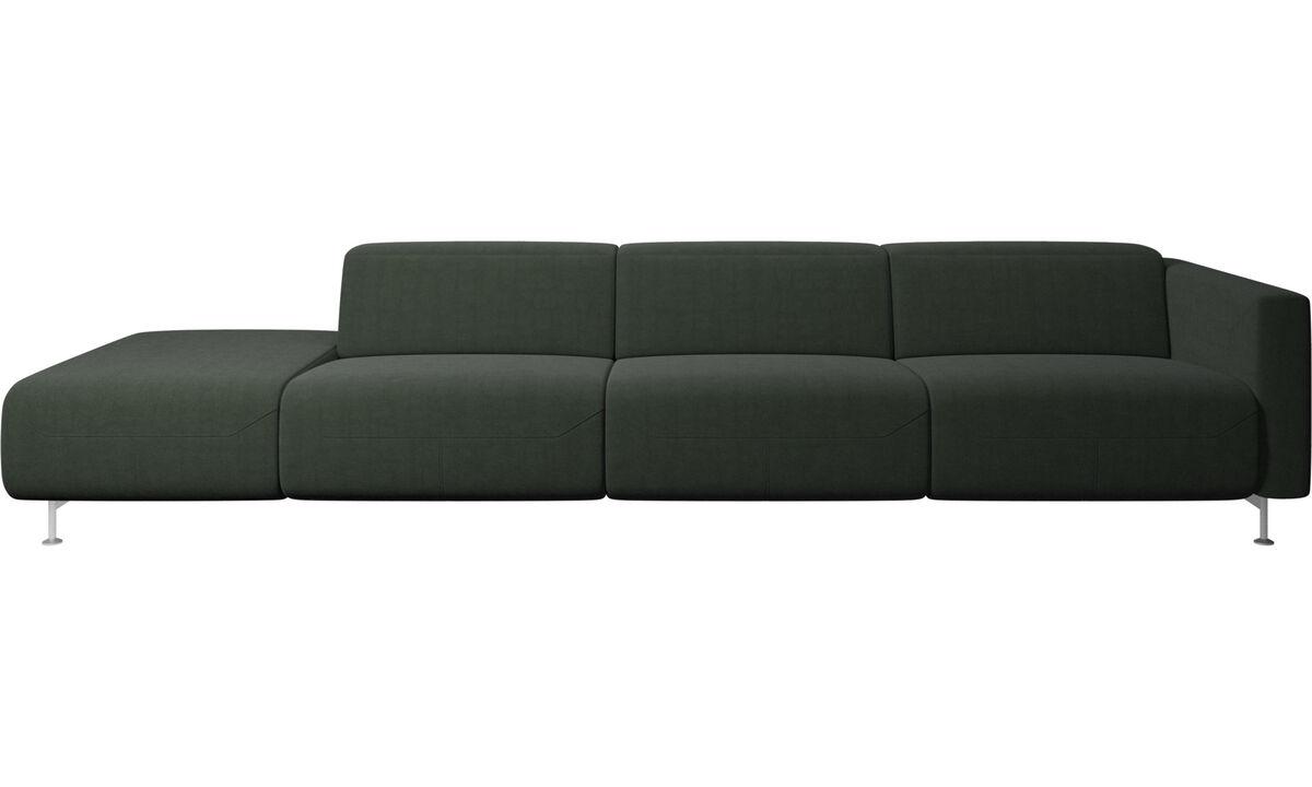 Sofás com canto aberto - Sofá reclinável Parma com extremidade aberta - Verde - Tecido