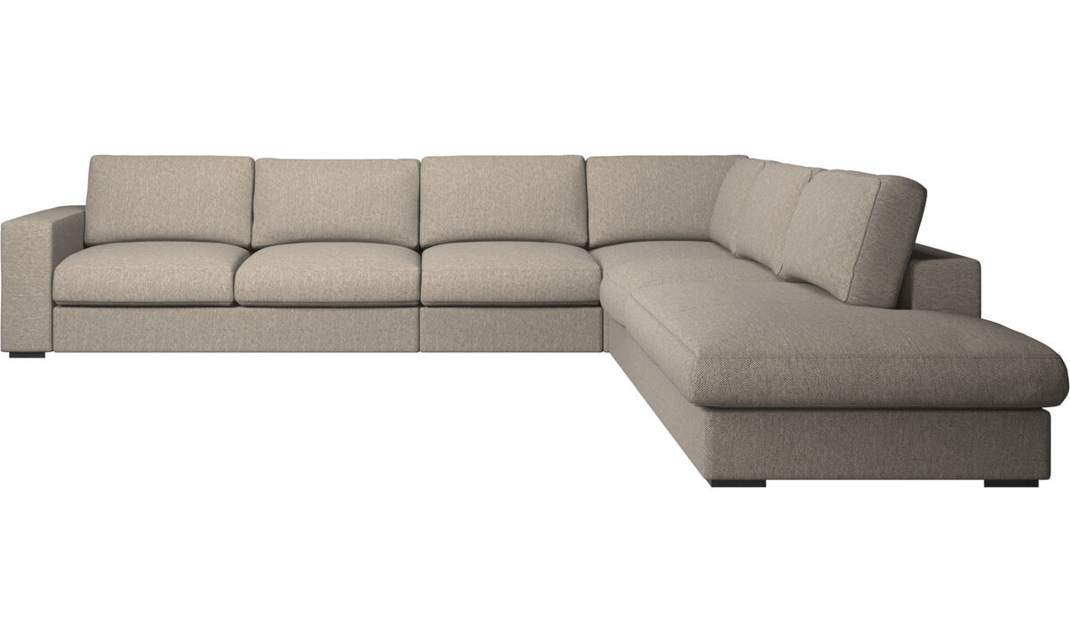 Corner sofas - Cenova corner sofa with lounging unit - Beige - Fabric