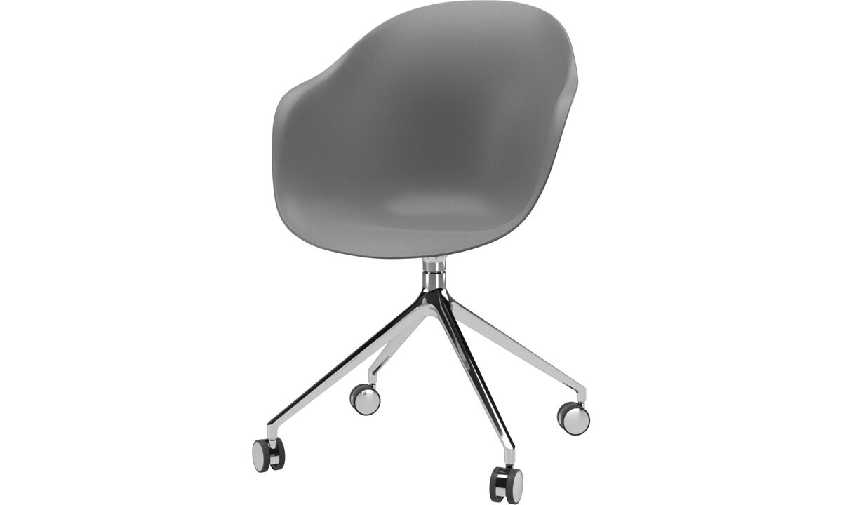 Home office chairs - Adelaide chair with swivel function and wheels - Grey - Plastic