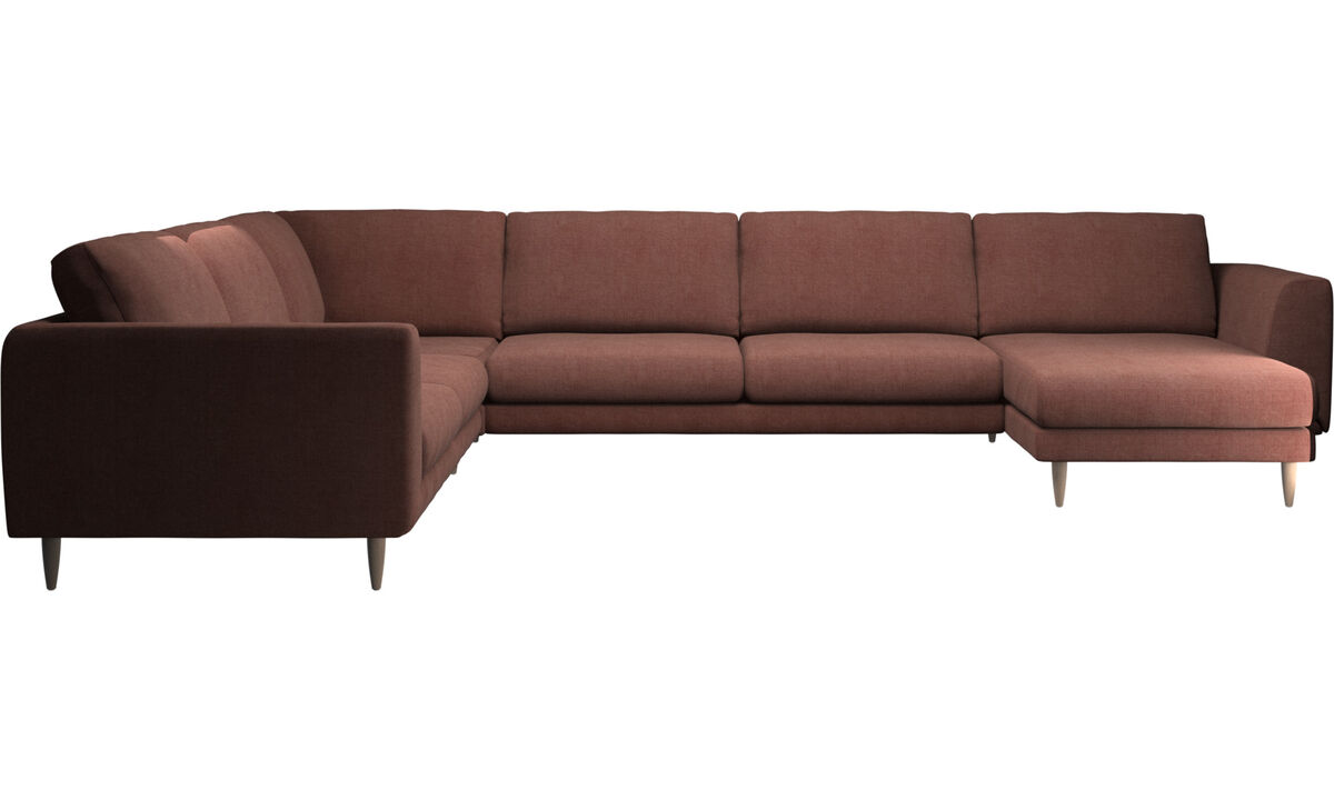 Sofás con chaise longue - sofá esquinero Fargo con módulo chaise-longue - Rojo - Tela