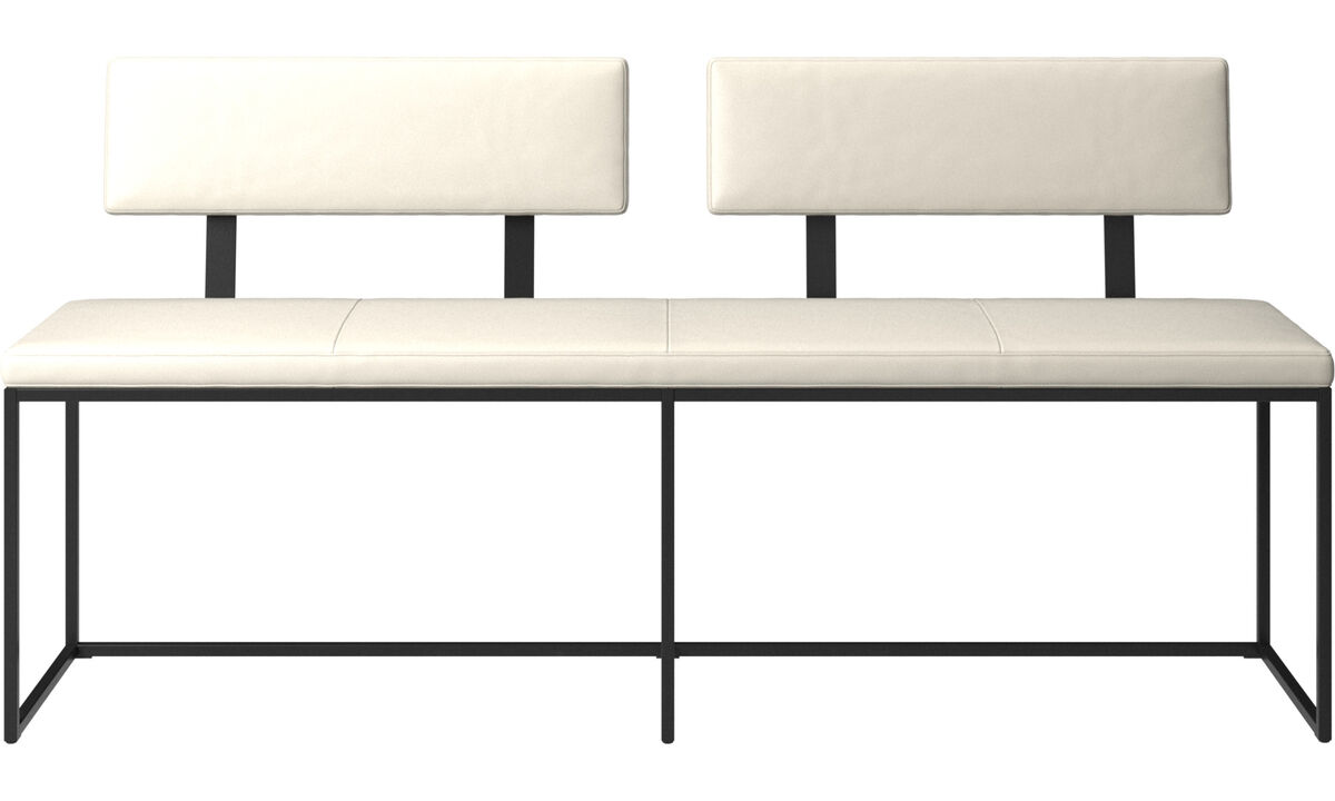 Benches - London large bench with cushion and backrest - White - Leather