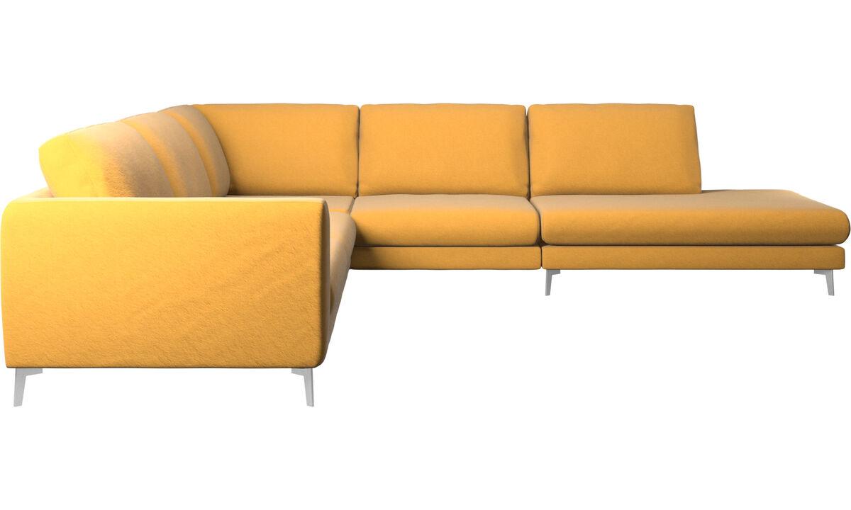 Sofás esquineros - Sofá esquinero Fargo con módulo de descanso - En amarillo - Tela