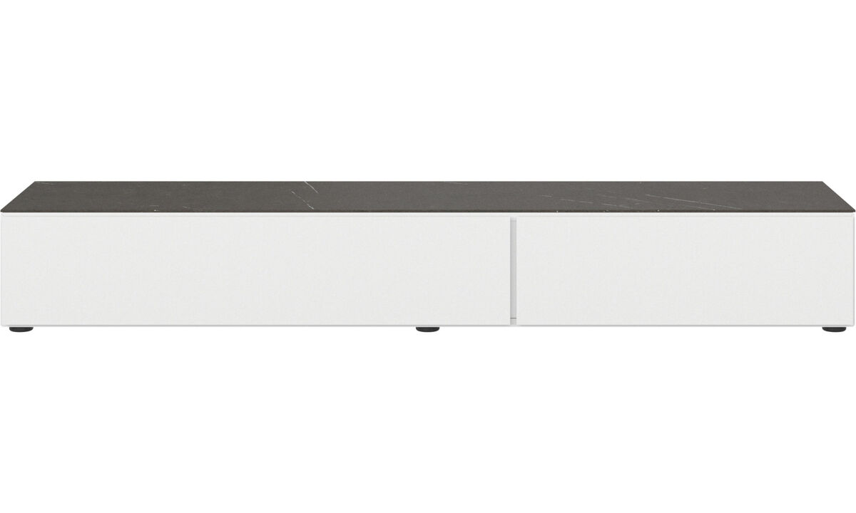 Wall systems - Lugano base cabinet with drawer, drop-down door and top-plate - Black - Lacquered