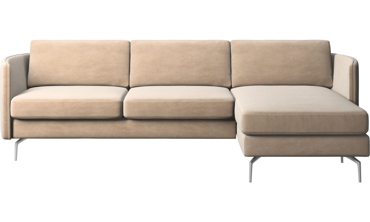 Chaise lounge sofas - Osaka sofa with resting unit, regular seat - Beige - Fabric