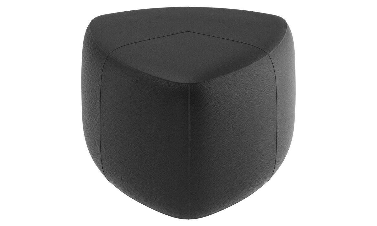 Footstools - Bermuda ottoman - Black - Leather