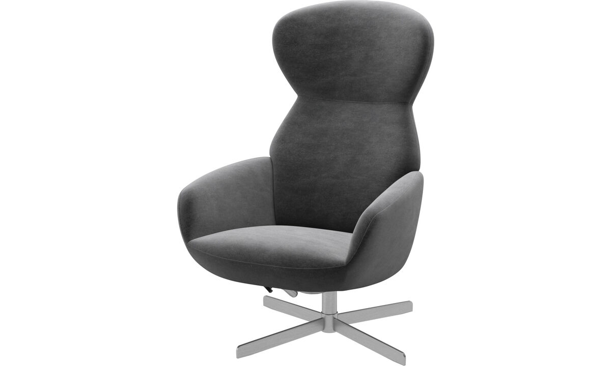 Armchairs - Athena chair with reclining back function and swivel base - Grey - Fabric