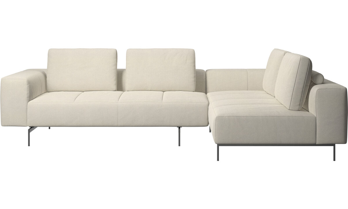 Corner & L-Shaped Sofa - Amsterdam corner sofa with lounging unit - White - Fabric