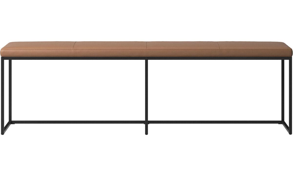长凳 - 带座垫的 London 长椅 - 褐色 - 革