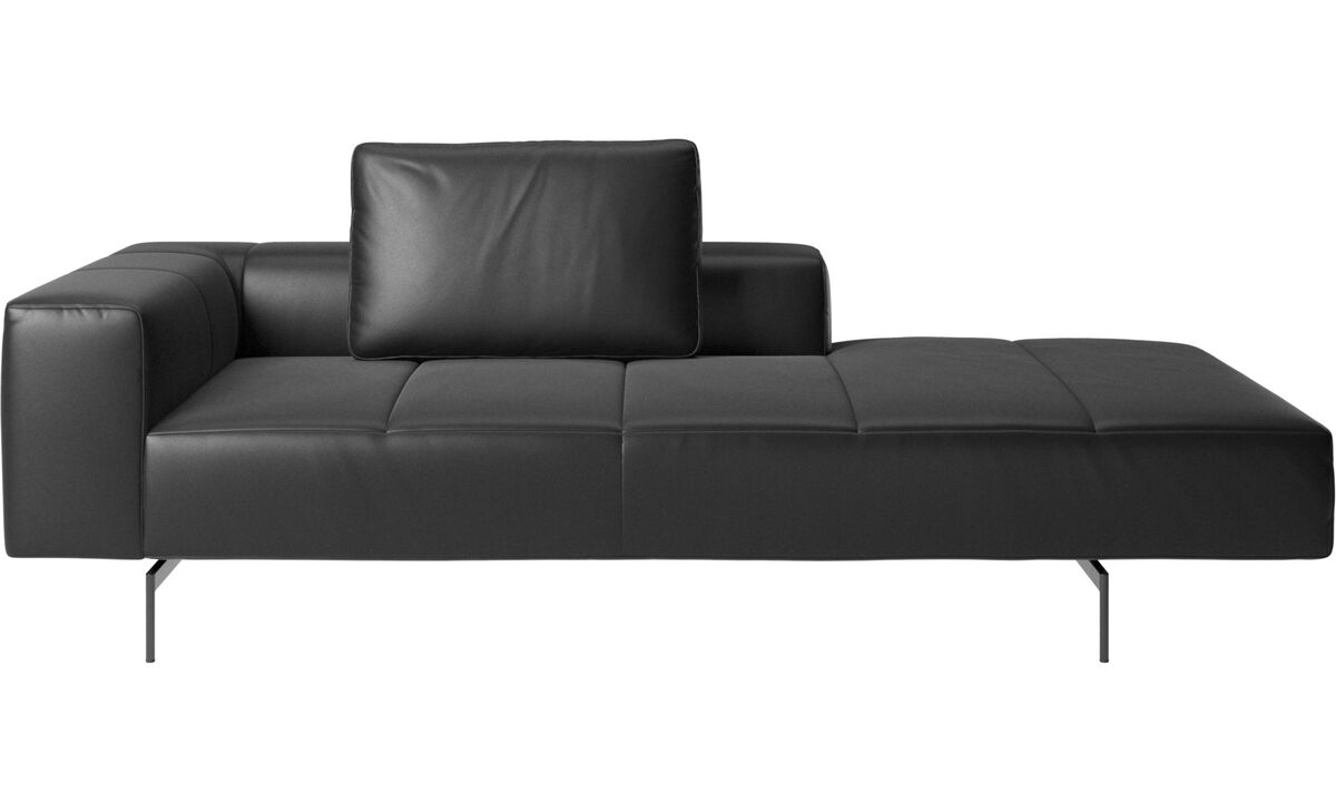 Modular sofas - Amsterdam Iounging module for sofa, armrest left, open end right - Black - Leather