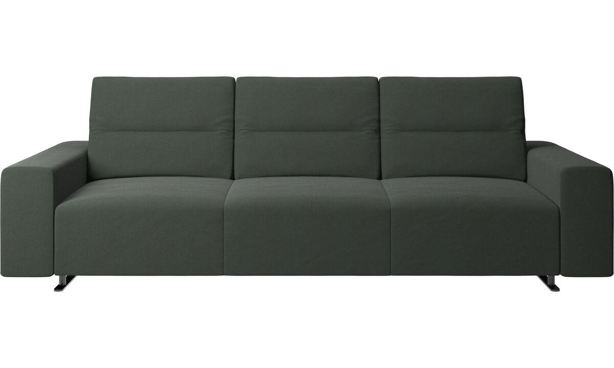 Sofás de 3 lugares - Sofá Hampton com encosto ajustável - Verde - Tecido