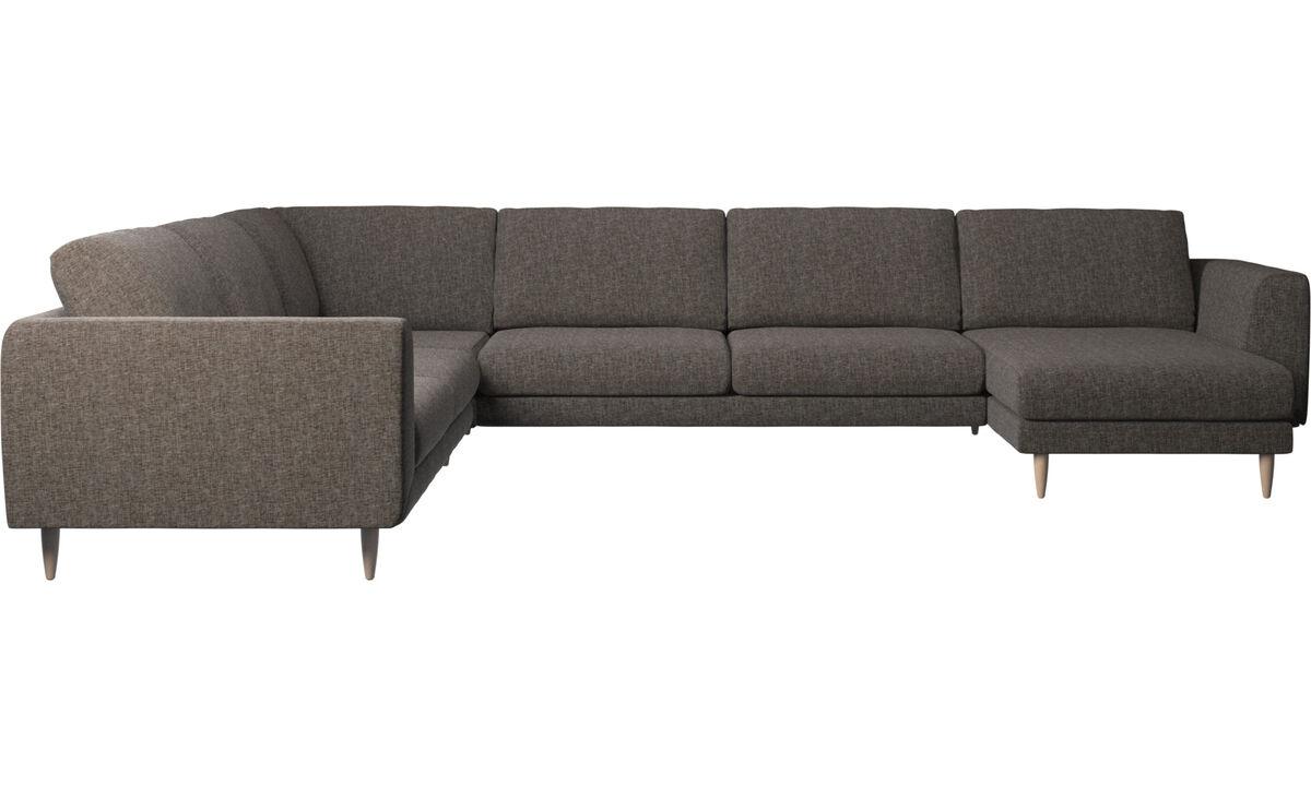 Sofás esquineros - Sofá esquinero Fargo con módulo chaise-longue - En marrón - Tela