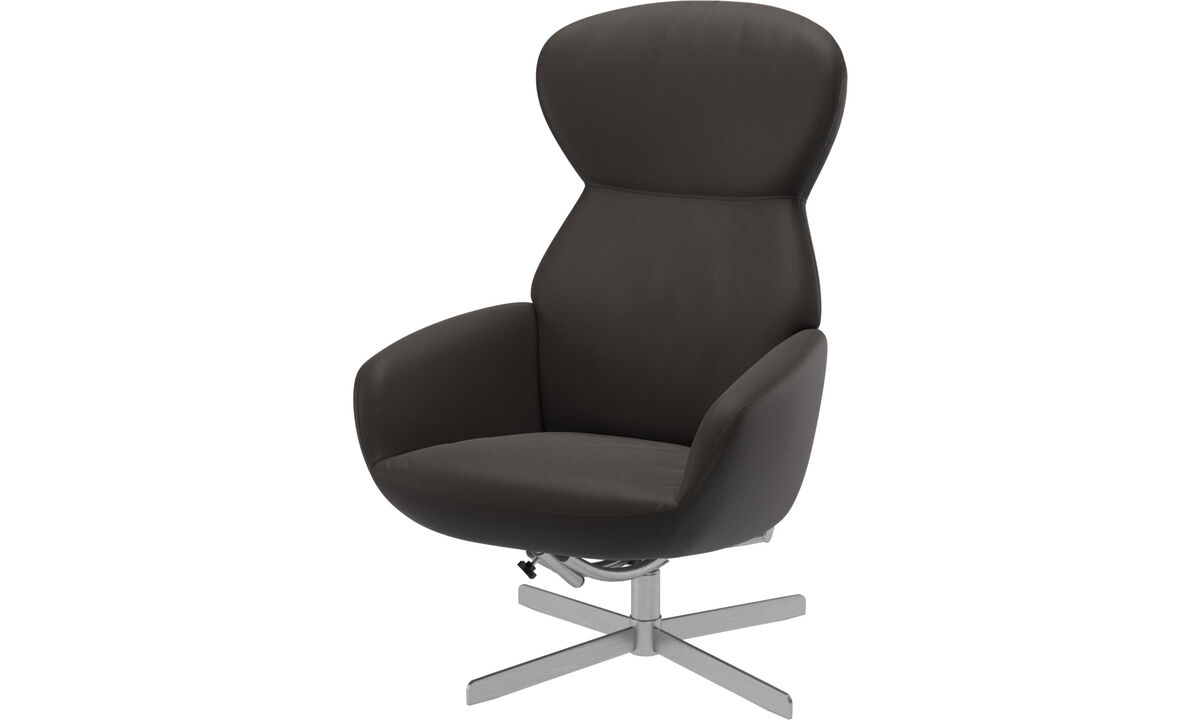 Recliners - Athena chair with reclining back function and swivel base - Brown - Leather