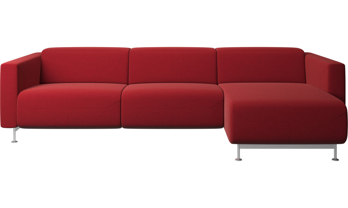 Relaxfauteuils - Parma-relaxbank met chaise longue - Rood - Stof