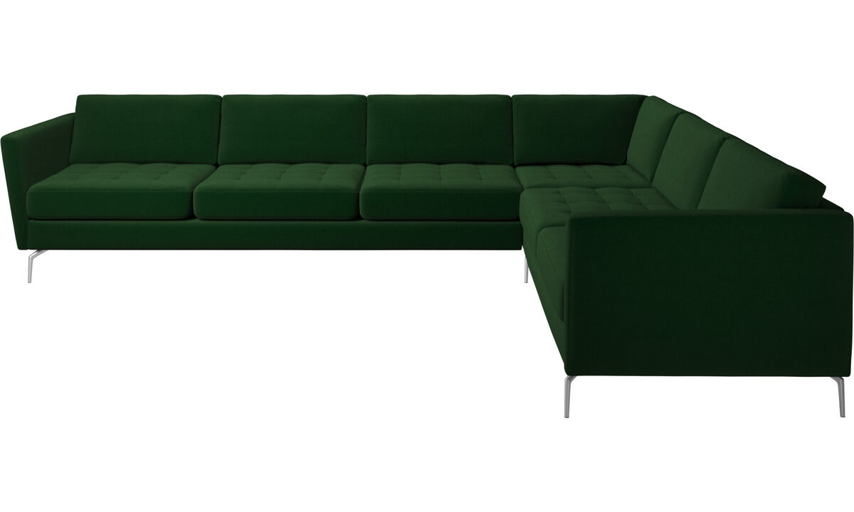 Corner sofas - Osaka corner sofa, tufted seat - Green - Fabric